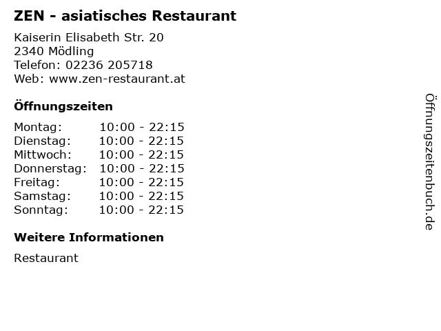 ZEN - asiatisches Restaurant in Mödling: Adresse und Öffnungszeiten