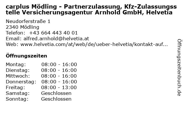 carplus Mödling - Partnerzulassung, Kfz-Zulassungsstelle Versicherungsagentur Arnhold GmbH, Helvetia in Mödling: Adresse und Öffnungszeiten