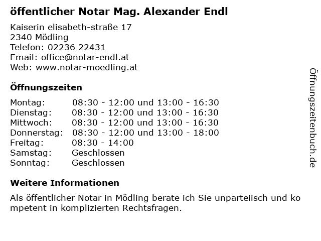 öffentlicher Notar Mag. Alexander Endl in Mödling: Adresse und Öffnungszeiten