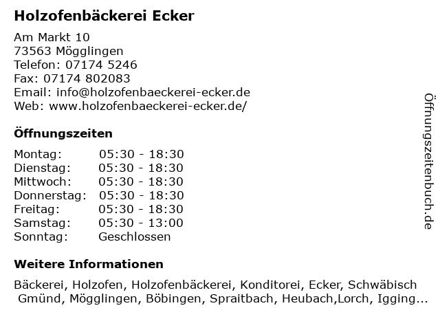 Holzofenbäckerei Günther Ecker in Mögglingen: Adresse und Öffnungszeiten