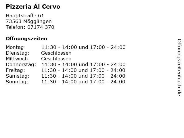 Pizzeria Al Cervo in Mögglingen: Adresse und Öffnungszeiten