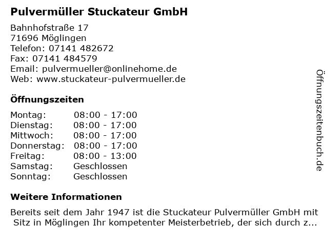 Pulvermüller Stuckateur GmbH in Möglingen: Adresse und Öffnungszeiten