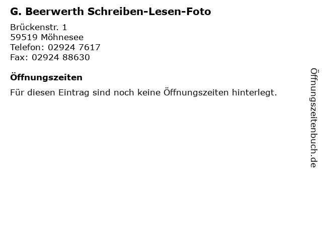G. Beerwerth Schreiben-Lesen-Foto in Möhnesee: Adresse und Öffnungszeiten