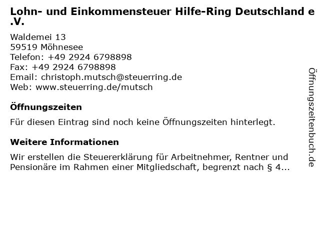 Lohn- und Einkommensteuer Hilfe-Ring Deutschland e.V. in Möhnesee: Adresse und Öffnungszeiten