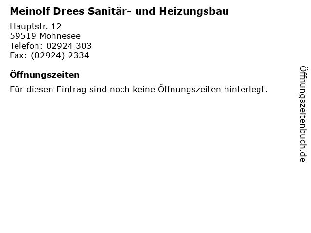 Meinolf Drees Sanitär- und Heizungsbau in Möhnesee: Adresse und Öffnungszeiten