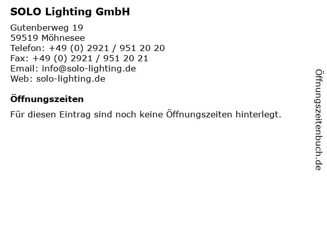 SOLO Lighting GmbH in Möhnesee: Adresse und Öffnungszeiten