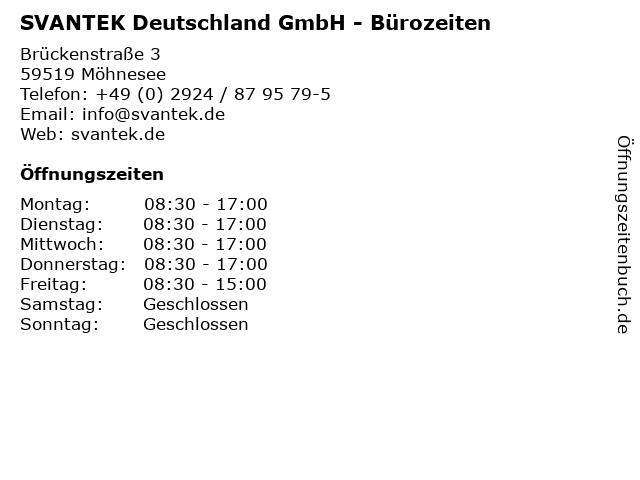 SVANTEK Deutschland GmbH - Bürozeiten in Möhnesee: Adresse und Öffnungszeiten