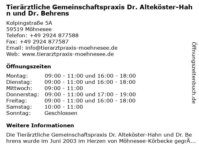 Tierärztliche Gemeinschaftspraxis Dr. Alteköster-Hahn und Dr. Behrens in Möhnesee: Adresse und Öffnungszeiten