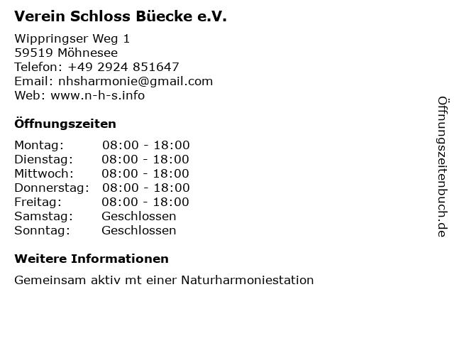 Verein Schloss Büecke e.V. in Möhnesee: Adresse und Öffnungszeiten
