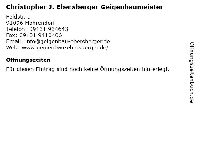 Christopher J. Ebersberger Geigenbaumeister in Möhrendorf: Adresse und Öffnungszeiten
