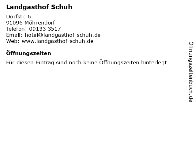 Landgasthof Schuh in Möhrendorf: Adresse und Öffnungszeiten