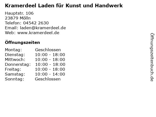 Kramerdeel Laden für Kunst und Handwerk in Mölln: Adresse und Öffnungszeiten
