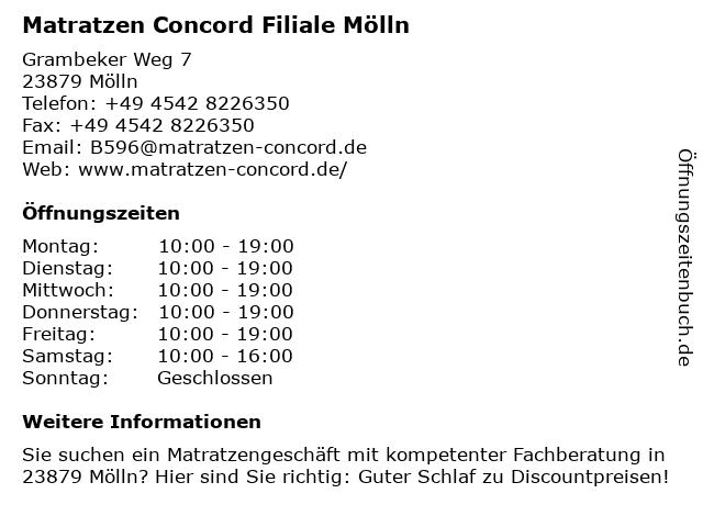 Matratzen Concord in Mölln: Adresse und Öffnungszeiten