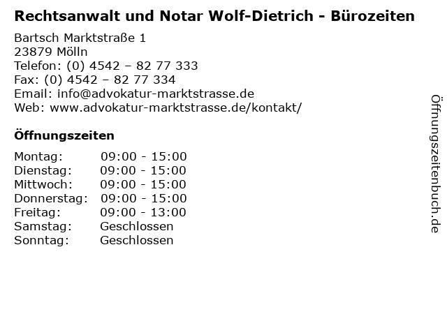 Rechtsanwalt und Notar Wolf-Dietrich - Bürozeiten in Mölln: Adresse und Öffnungszeiten