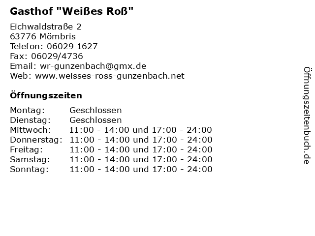 """Gasthof """"Weißes Roß"""" in Mömbris: Adresse und Öffnungszeiten"""