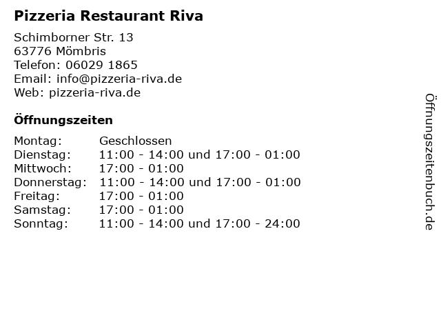 Pizzeria Restaurant Riva in Mömbris: Adresse und Öffnungszeiten