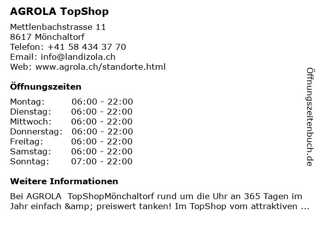 Agrola Tankstelle in Mönchaltorf: Adresse und Öffnungszeiten