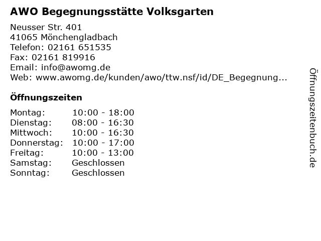 AWO Begegnungsstätte Volksgarten in Mönchengladbach: Adresse und Öffnungszeiten