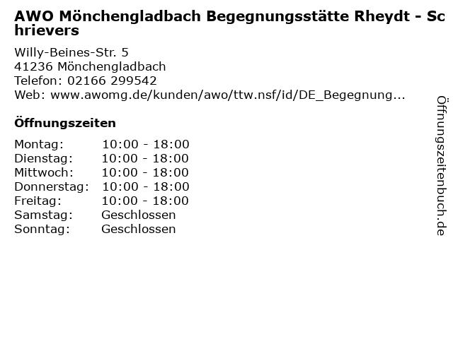 AWO Mönchengladbach Begegnungsstätte Rheydt - Schrievers in Mönchengladbach: Adresse und Öffnungszeiten