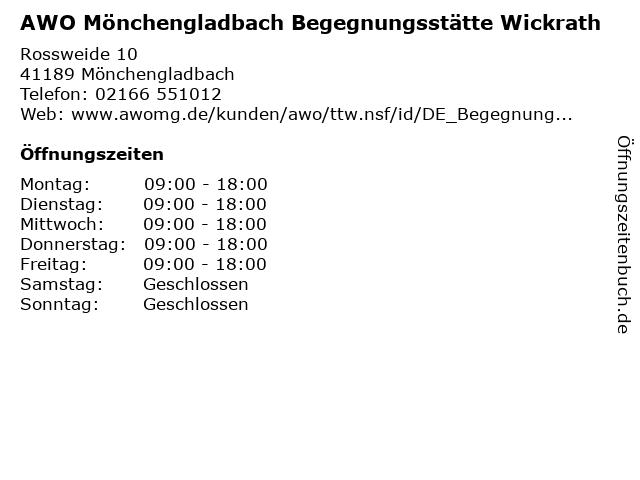 AWO Mönchengladbach Begegnungsstätte Wickrath in Mönchengladbach: Adresse und Öffnungszeiten
