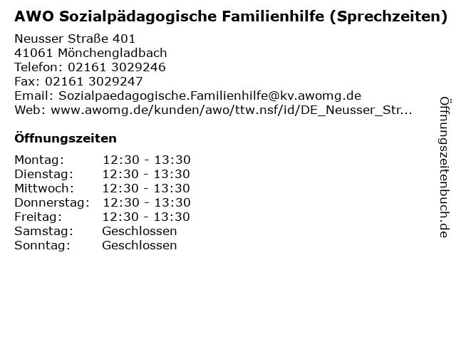 AWO Sozialpädagogische Familienhilfe (Sprechzeiten) in Mönchengladbach: Adresse und Öffnungszeiten