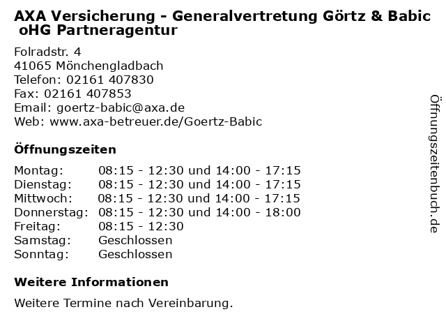 AXA Versicherung - Generalvertretung Görtz & Babic oHG Partneragentur in Mönchengladbach: Adresse und Öffnungszeiten