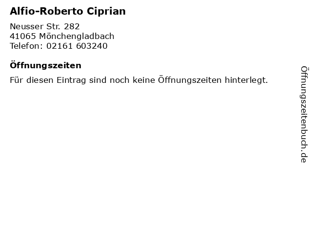 Alfio-Roberto Ciprian in Mönchengladbach: Adresse und Öffnungszeiten