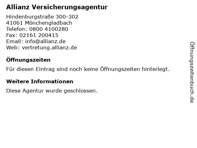 Allianz Versicherung Simon Möller Hauptvertretung in Mönchengladbach: Adresse und Öffnungszeiten
