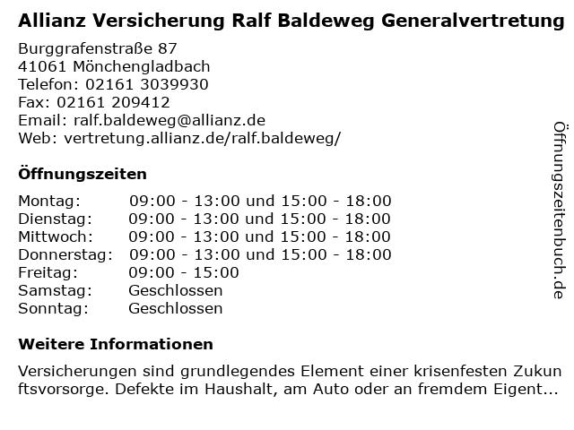 Allianz Vertretung Ralf Baldeweg in Mönchengladbach: Adresse und Öffnungszeiten