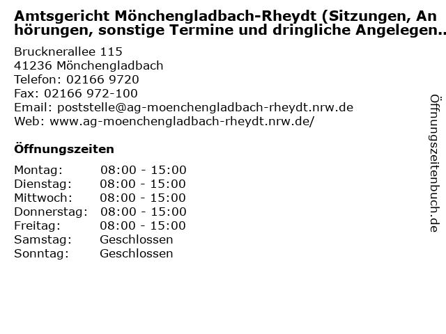 Amtsgericht Mönchengladbach-Rheydt (Sitzungen, Anhörungen, sonstige Termine und dringliche Angelegenheiten ) in Mönchengladbach: Adresse und Öffnungszeiten
