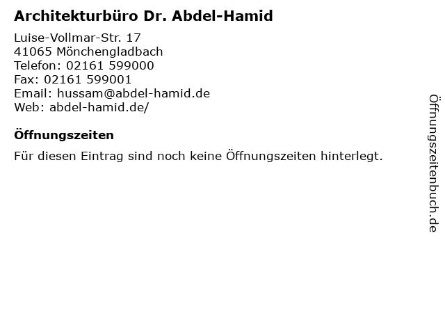 Architekturbüro Dr. Abdel-Hamid in Mönchengladbach: Adresse und Öffnungszeiten