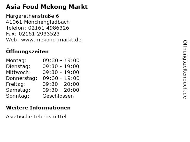 Asia Food Mekong Markt in Mönchengladbach: Adresse und Öffnungszeiten