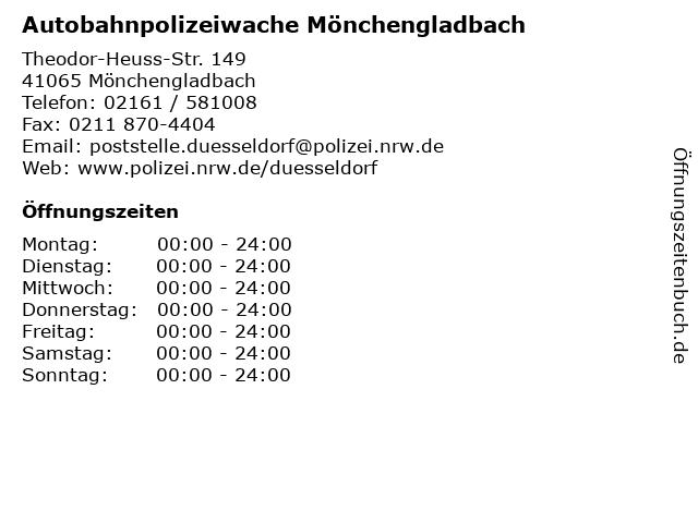 Autobahnpolizeiwache Mönchengladbach in Mönchengladbach: Adresse und Öffnungszeiten