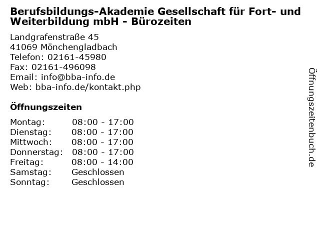 Berufsbildungs-Akademie Gesellschaft für Fort- und Weiterbildung mbH - Bürozeiten in Mönchengladbach: Adresse und Öffnungszeiten