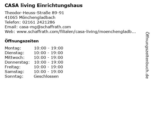 ᐅ Offnungszeiten Casa Living Einrichtungshaus Theodor Heuss