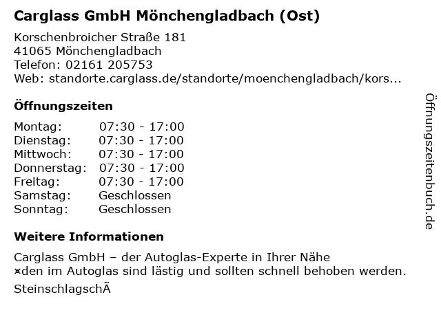Carglass GmbH Mönchengladbach (Giesenkirchen) in Mönchengladbach: Adresse und Öffnungszeiten