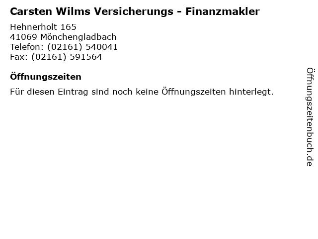 Carsten Wilms Versicherungs - Finanzmakler in Mönchengladbach: Adresse und Öffnungszeiten