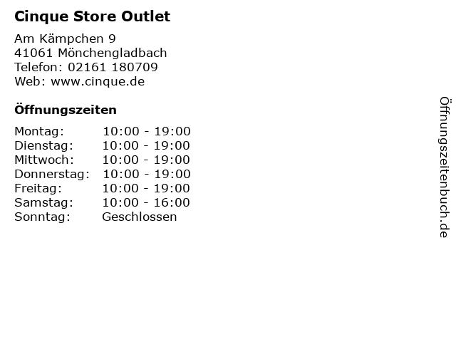 Cinque Store Outlet in Mönchengladbach: Adresse und Öffnungszeiten