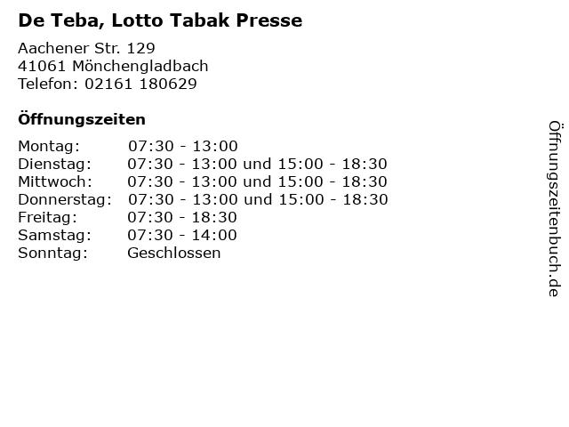 De Teba, Lotto Tabak Presse in Mönchengladbach: Adresse und Öffnungszeiten