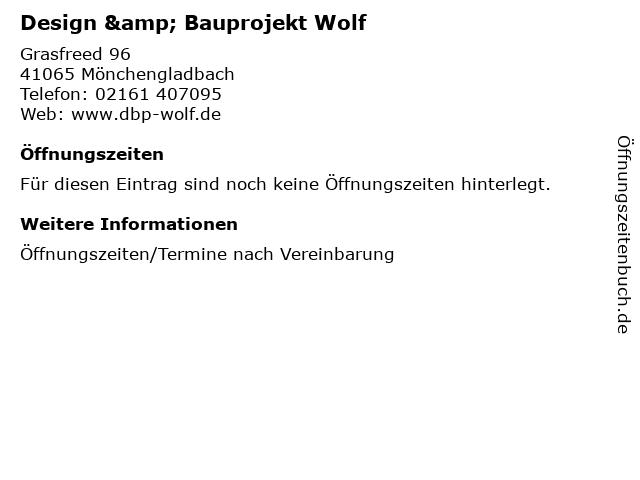 Design & Bauprojekt Wolf in Mönchengladbach: Adresse und Öffnungszeiten