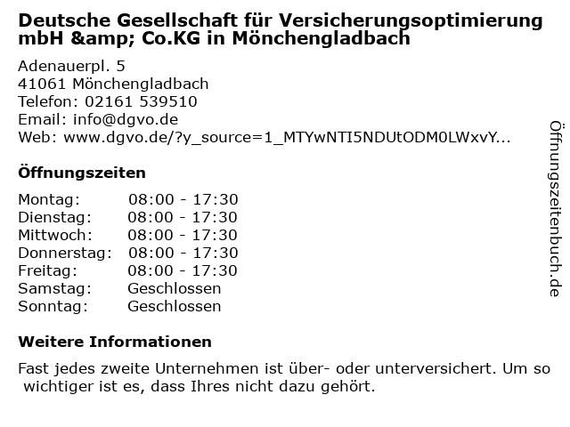 Deutsche Gesellschaft für Versicherungsoptimierung mbH & Co.KG in Mönchengladbach: Adresse und Öffnungszeiten