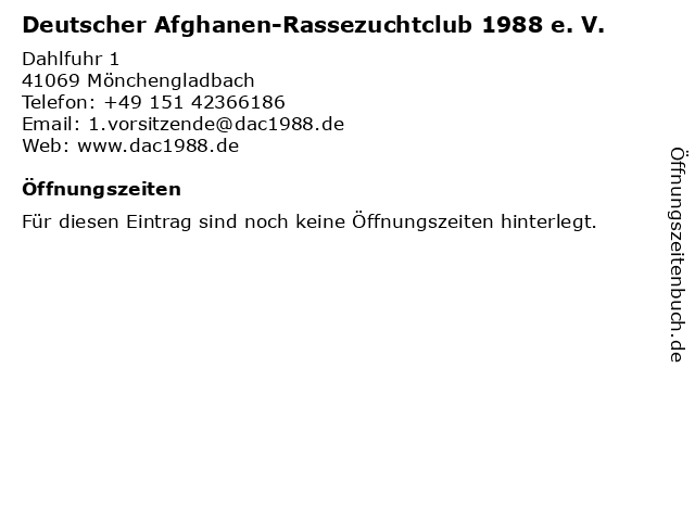 Deutscher Afghanen-Rassezuchtclub 1988 e. V. in Mönchengladbach: Adresse und Öffnungszeiten