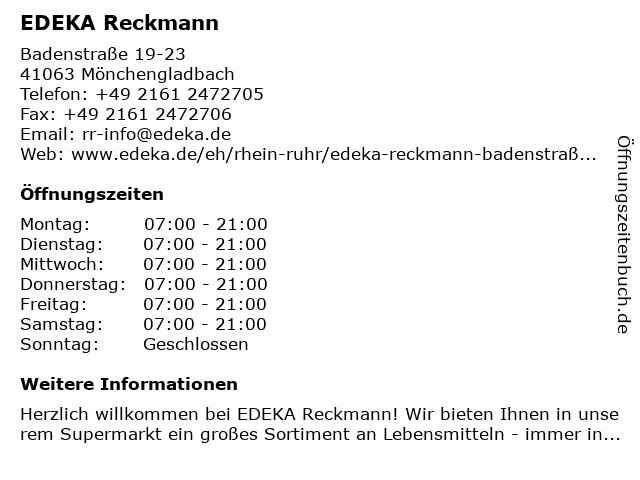 EDEKA Reckmann in Mönchengladbach: Adresse und Öffnungszeiten