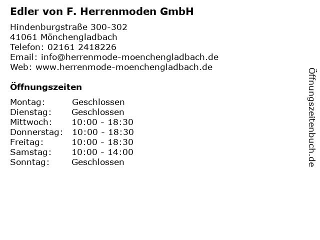 Edler von F. Herrenmoden GmbH in Mönchengladbach: Adresse und Öffnungszeiten