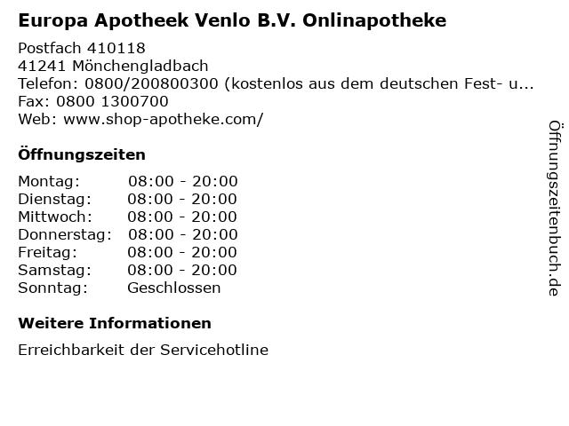 Europa Apotheek Venlo B.V. Onlinapotheke in Mönchengladbach: Adresse und Öffnungszeiten