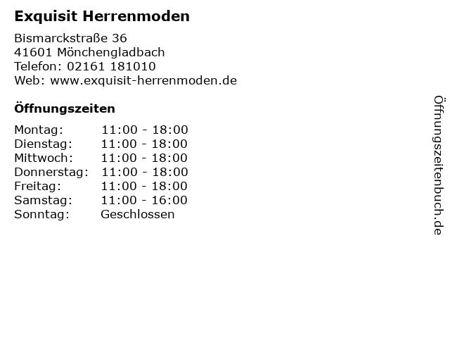 Exquisit Herrenmoden in Mönchengladbach: Adresse und Öffnungszeiten