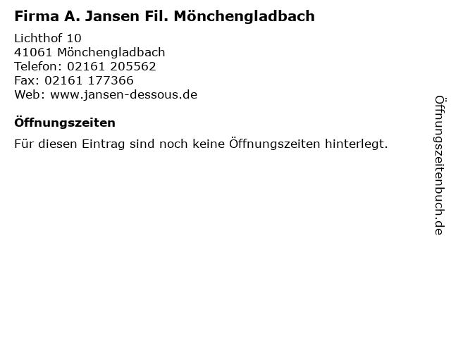 Firma A. Jansen Fil. Mönchengladbach in Mönchengladbach: Adresse und Öffnungszeiten