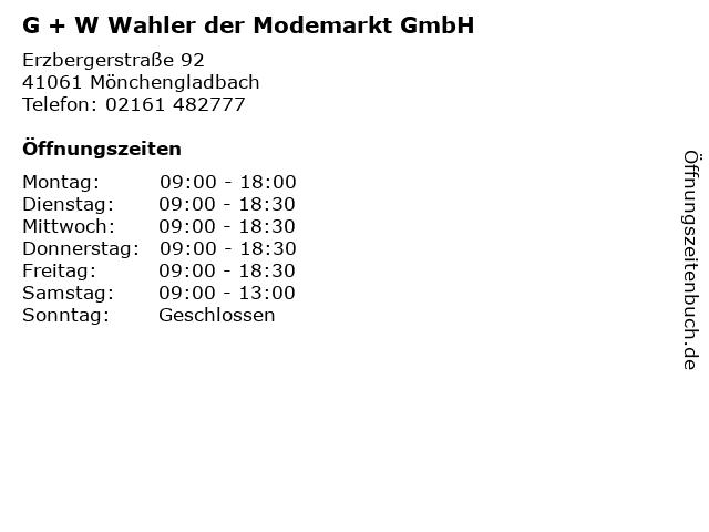 G + W Wahler der Modemarkt GmbH in Mönchengladbach: Adresse und Öffnungszeiten