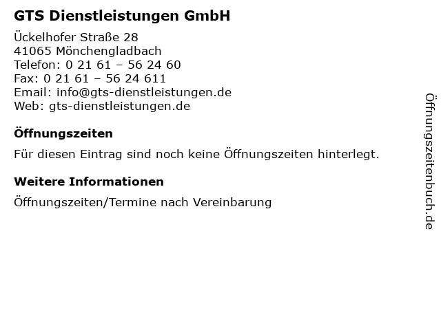 GTS Dienstleistungen GmbH in Mönchengladbach: Adresse und Öffnungszeiten