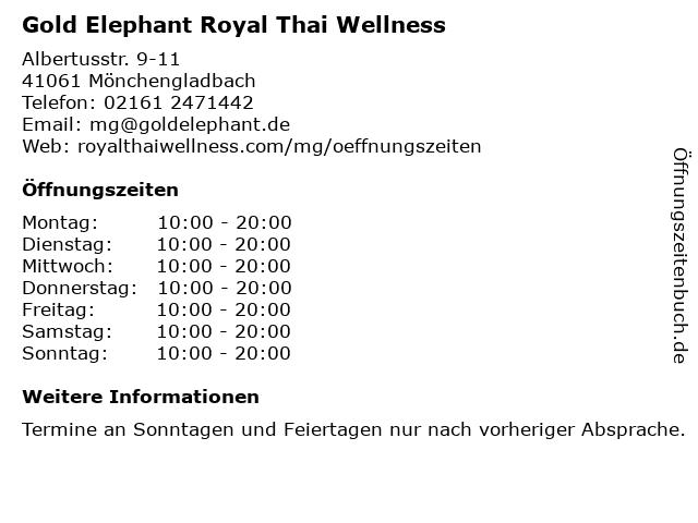 Gold Elephant Royal Thai Wellness in Mönchengladbach: Adresse und Öffnungszeiten